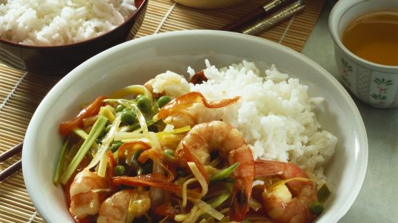 Rezept: Gemüse-Shrimps-Pfanne mit Reis