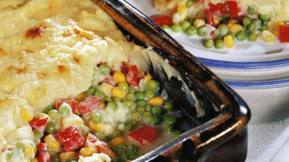 Rezept: Gemüseauflauf mit Kartoffelpüreehaube