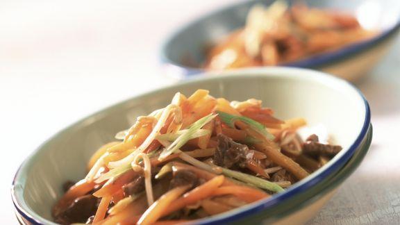 Rezept: Gemüsepfanne Asiatische Art, mit Rinderfilet