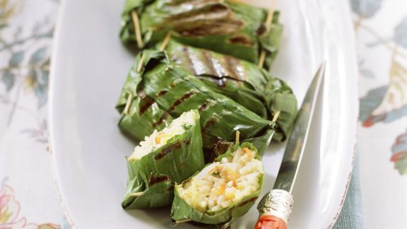 Rezept: Gemüsereis im Bananenblatt