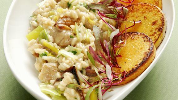 Rezept: Gemüserisotto mit gebratenen Kürbistalern