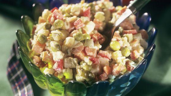Rezept: Gemüsesalat mit Mayonnaise-Dressing
