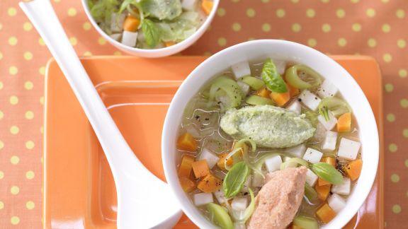 Rezept: Gemüsesuppe mit Grießnocken