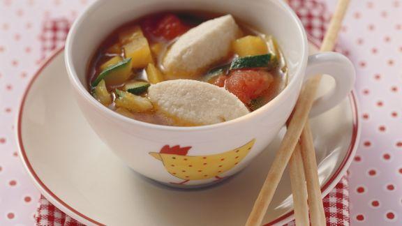 Rezept: Gemüsesuppe mit Quarknockerl