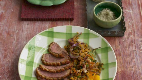 Rezept: Geräuchertes Entenbrustfilet mit Linsensalat