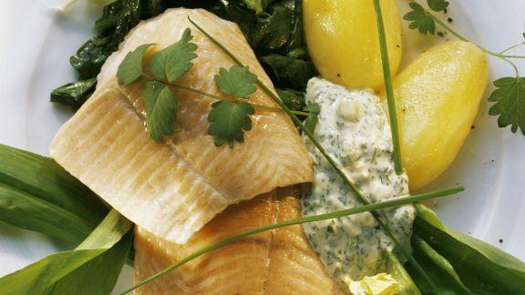 Rezept: Geräuchertes Lachsforellenfilet mit Bärlauch