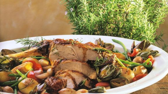Rezept: Geschmorter Lammbraten mit Gemüse