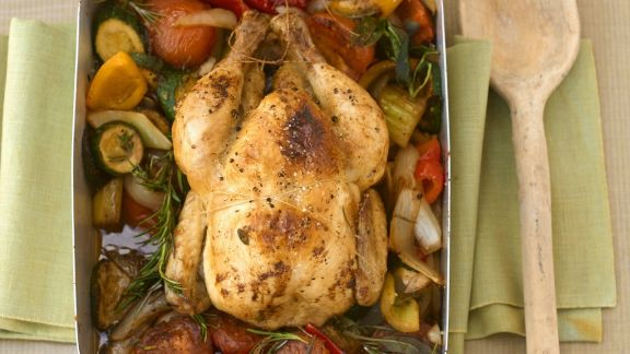Rezept: Geschmortes Hühnchen mit Gemüse und Kräutern