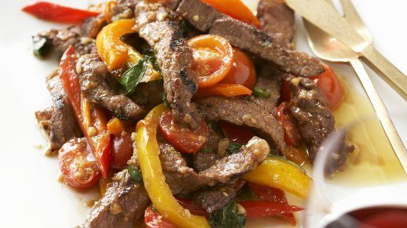 Rezept: Geschnetzeltes vom Rind mit Paprika
