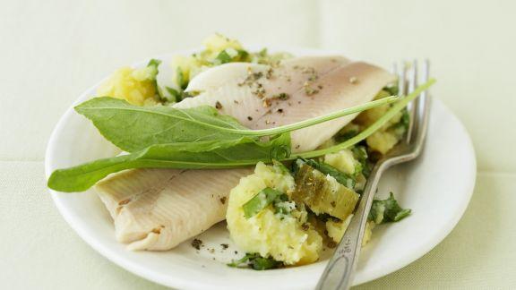 Rezept: Gestampfte Kartoffeln mit geräucherter Forelle