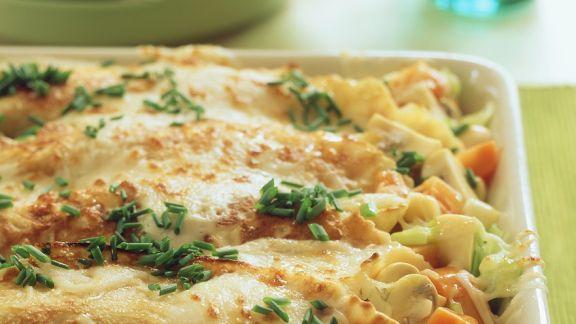 Rezept: Gratinierte Gemüse-Pfannkuchenröllchen