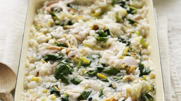 Rezept: Gratiniertes Risotto mit Hähnchen