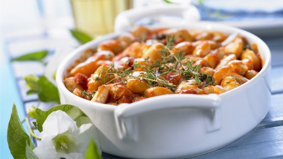 Rezept: Große Bohnen mit Tomatensugo