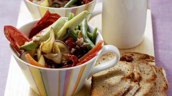 Rezept: Grüne Bohnen-Salat mit Auberginen und Kapern