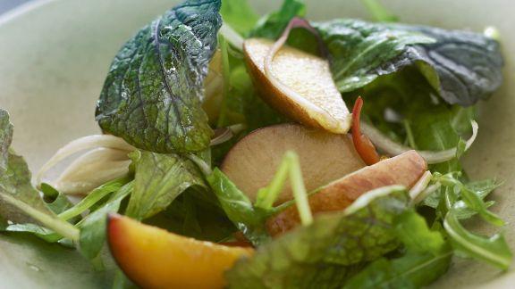 Rezept: grüner Salat mit Früchten