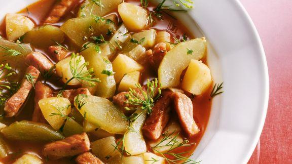 Rezept: Gurken-Kartoffel-Eintopf mit Kassler