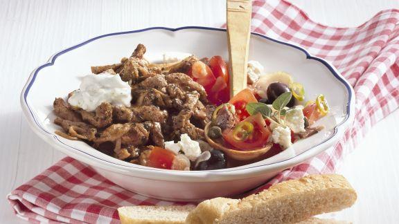 Rezept: Gyros mit Zaziki und Tomatensalat