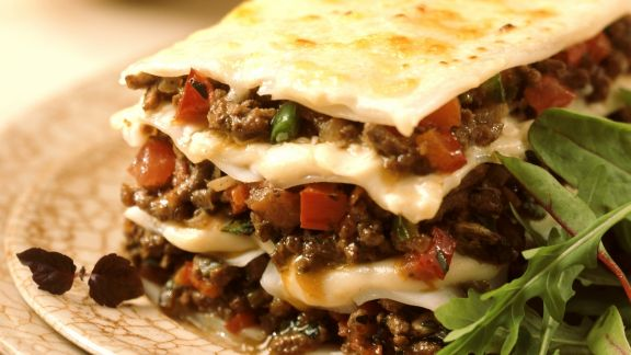 Rezept: Hackfleisch-Lasagne mit Paprika