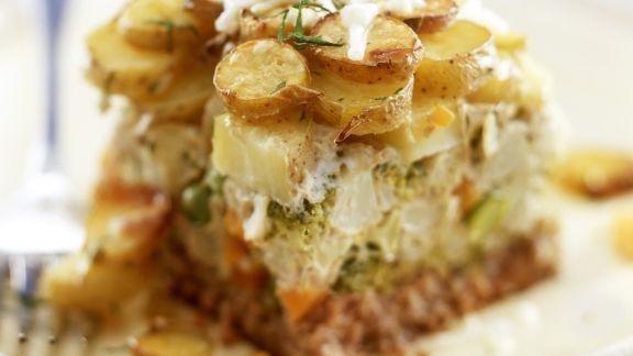 Rezept: Hackfleischauflauf mit Kartoffeln, Brokkoli und Blumenkohl