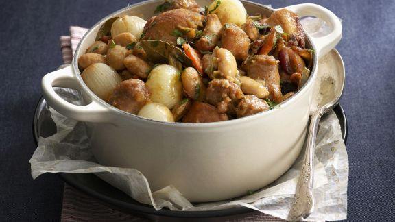 Rezept: Hähnchen-Bohnen-Eintopf mit Zwiebeln