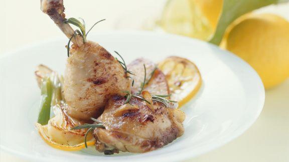 Rezept: Hähnchen in Buttersauche mit Knoblauch und Rosmarin