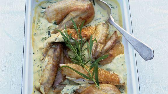 Rezept: Hähnchen in Estragon-Sahne-Sauce