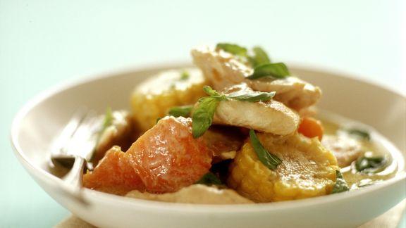 Rezept: Hähnchen-Kürbis-Curry mit Mais
