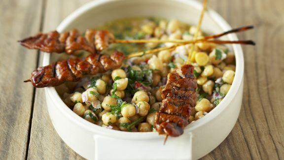 Rezept: Hähnchen mit Kichererbsensalat