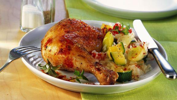 Rezept: Hähnchen mit Zucchini-Reis