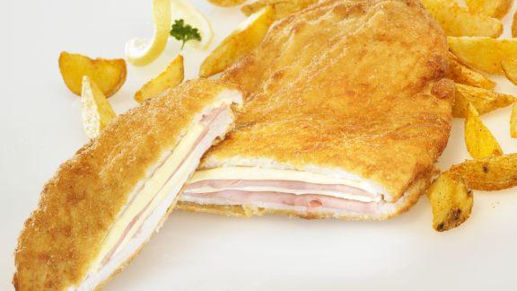 Rezept: Hähnchen nach Cordon-Bleu-Art mit Kartoffelsticks