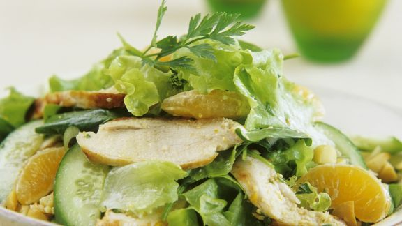 Rezept: Hähnchenbrust mit Orangen und Kopfsalat