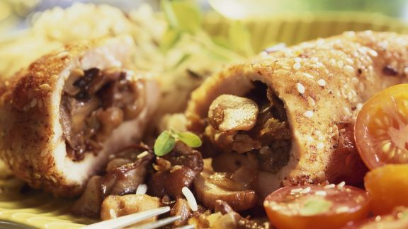 Rezept: Hähnchenbrust mit Pilzen gefüllt