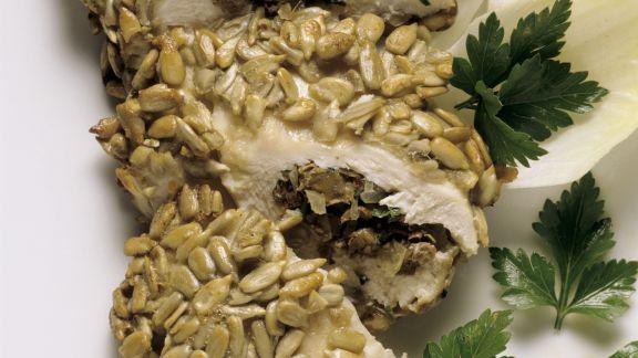 Rezept: Hähnchenbrust mit Pilzen gefüllt und paniert