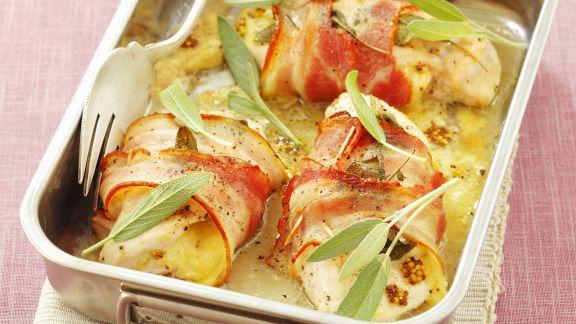 Rezept: Hähnchenbrust mit Speckwickel, Senf und Salbei