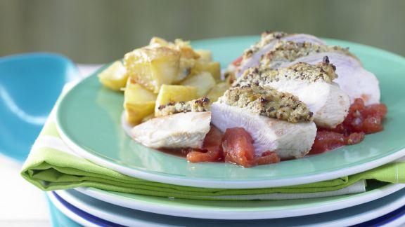 Rezept: Hähnchenbrustfilet mit Olivenkruste