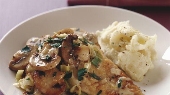 Rezept: Hähnchenfilet mit Champignons und Porree
