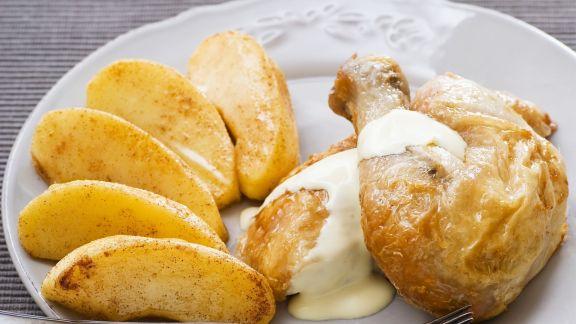 Rezept: Hähnchenkeule mit Apfelweinsauce