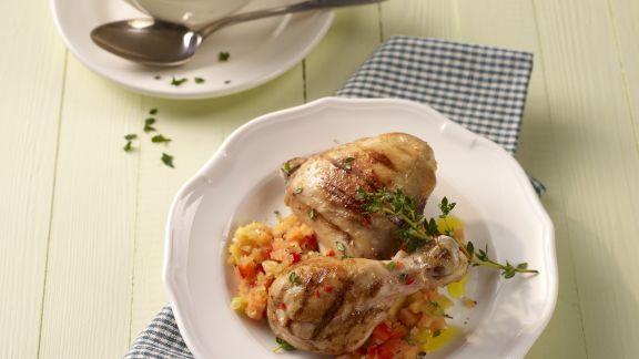 Rezept: Hähnchenkeule mit Papayasalsa
