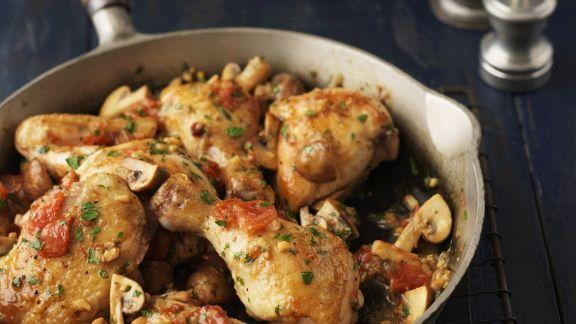 Rezept: Hähnchenpfanne mit Tomaten und Champignons