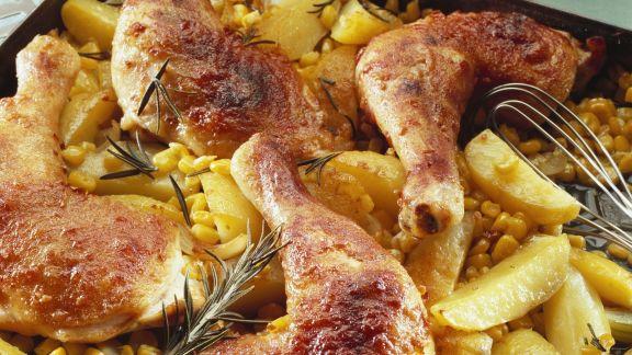 Rezept: Hähnchenschlegel mit Mais-Kartoffeln
