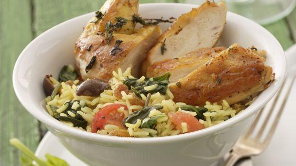 Rezept: Hähnchenschlegel mit Spinat-Reis