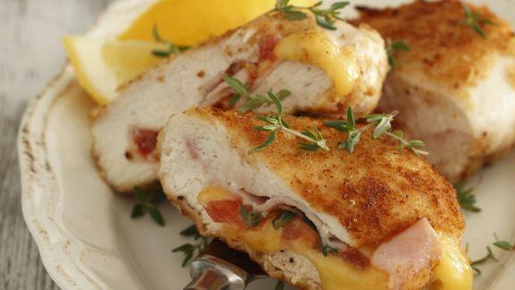 Rezept: Hähnchenschnitzel mit Schinken und Käse