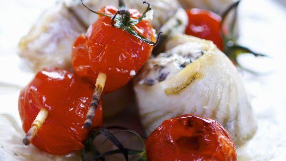 Rezept: Heilbuttrouladen mit Tomaten