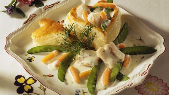 Rezept: Herz-Pastete mit Seelachs, Karotten und Kaiserschoten