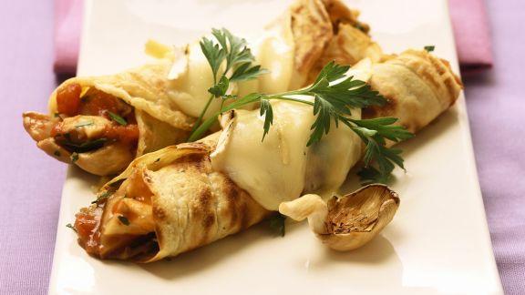 Rezept: Herzhafter Crêpe mit Käse und Austernpilzen