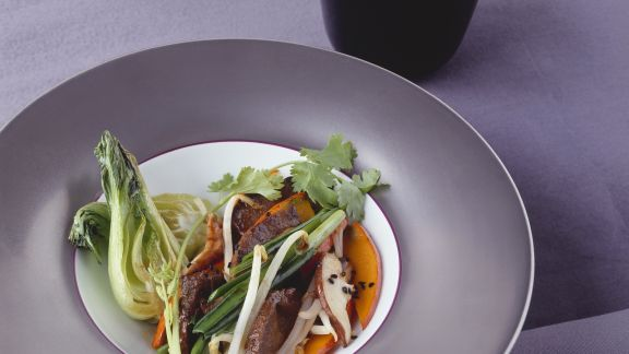 Rezept: Hirschrücken mit Pilzen und Kürbis