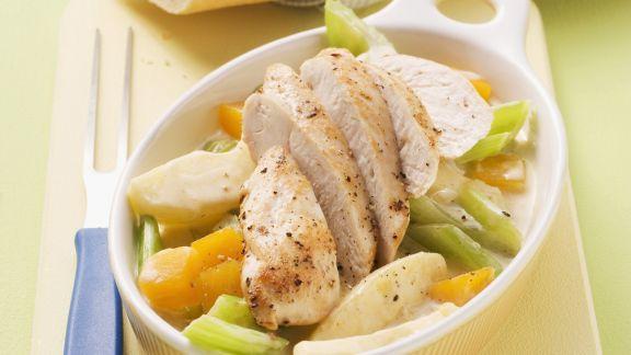 Rezept: Hühnchen auf Rahmgemüse