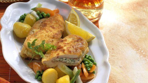 Rezept: Hühnchen-Cordon-Bleu mit gemischtem Gemüse