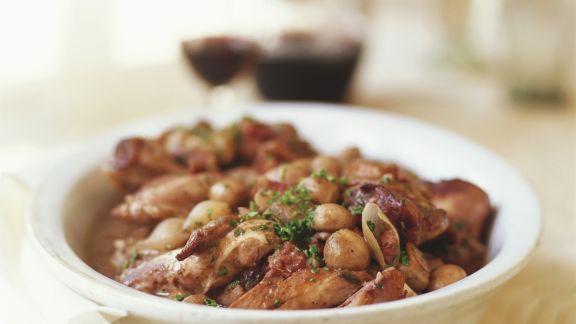 Rezept: Huhn in Weinsoße (Coq au Vin)