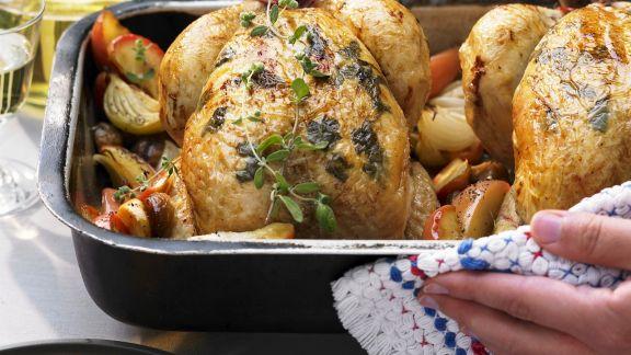 Rezept: Huhn mit Maronen-Apfel-Gemüse und Kartoffelpuffern